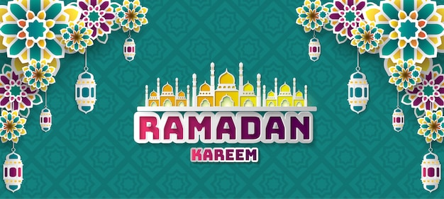 Fond de voeux de ramadan kareem.