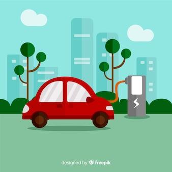 Fond de voiture électrique plat