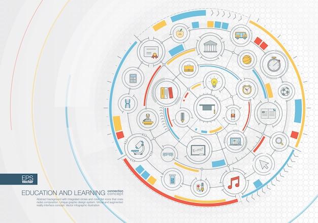 Fond de voyage abstrait. système de connexion numérique avec cercles intégrés, icônes de couleur. interface graphique radiale. concept futur. illustration infographique