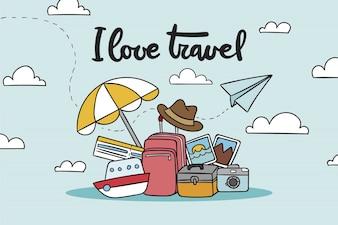 Fond de voyage bagages dessinés à la main