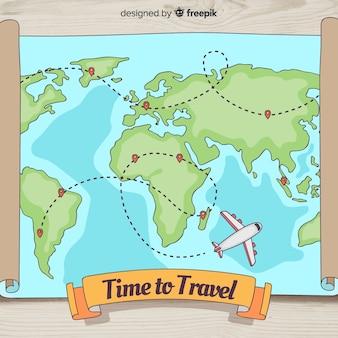 Fond de voyage dessiné à la main