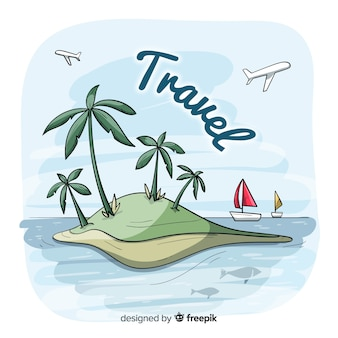 Fond de voyage île dessinés à la main