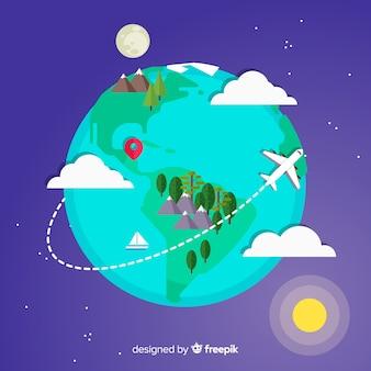 Fond de voyage de la terre dans un design plat