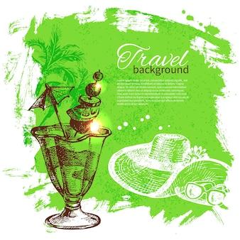 Fond de voyage et de vacances. illustration de croquis dessinés à la main