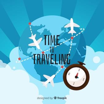 Fond de voyages avions dessinés à la main