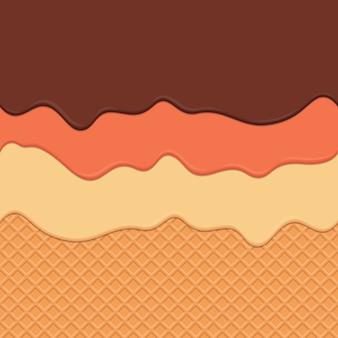 Fond de wafer sans soudure et dégoulinant de crème répétable vectoriel