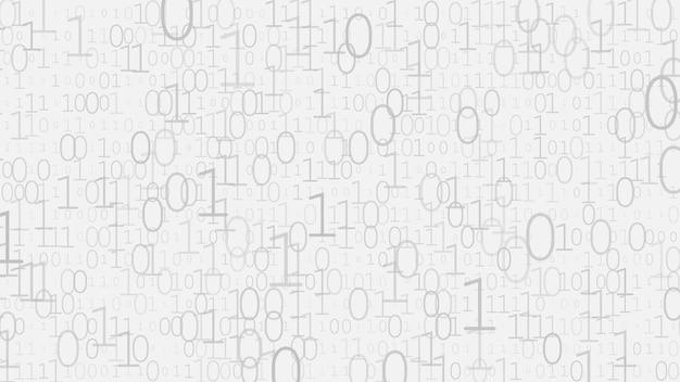 Fond de zéros et de uns dans des couleurs blanches et grises