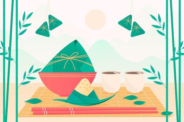 Fond de zongzi bateau dragon dessiné à la main