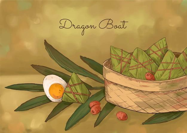 Fond de zongzi du bateau dragon aquarelle peint à la main
