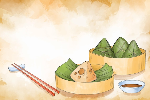 Fond de zongzi du bateau dragon aquarelle