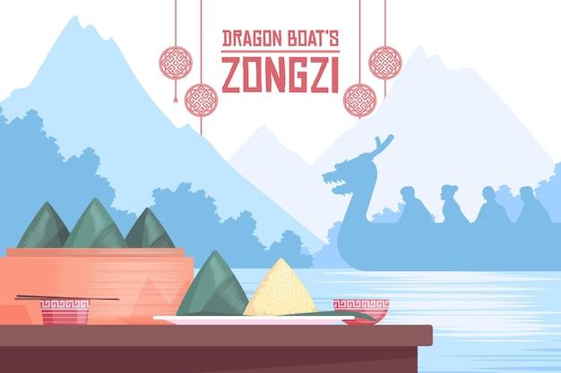 Fond de zongzi du bateau dragon au design plat