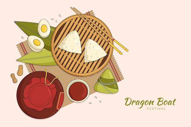 Fond de zongzi du bateau dragon dessiné à la main