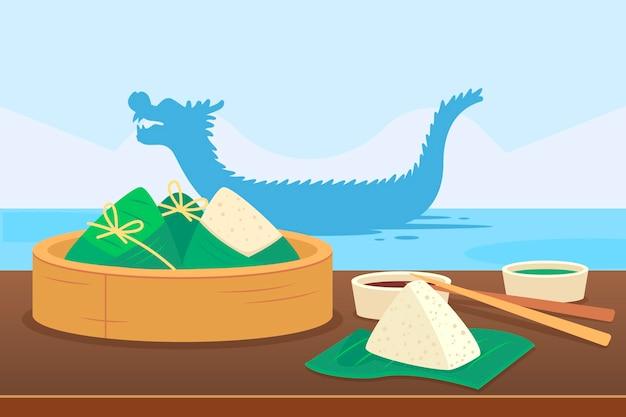 Fond de zongzi du bateau dragon