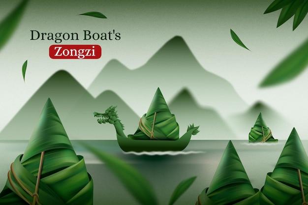 Fond de zongzi réaliste de bateau dragon