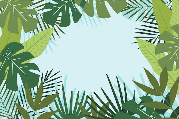 Fond de zoom avec des feuilles tropicales