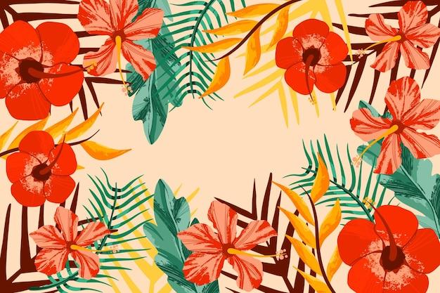 Fond de zoom de fleurs tropicales