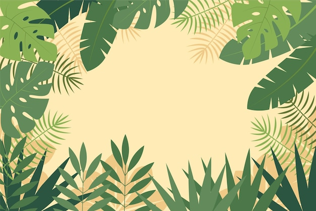 Fond de zoom avec thème de feuilles tropicales