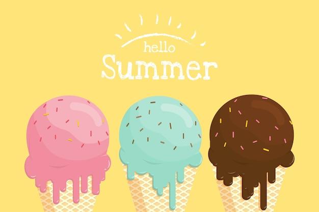 Fondre la crème glacée dans le cône de gaufre hello summer banner.