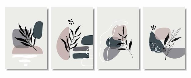 Fonds abstraits avec des formes minimales et des feuilles d'art en ligne