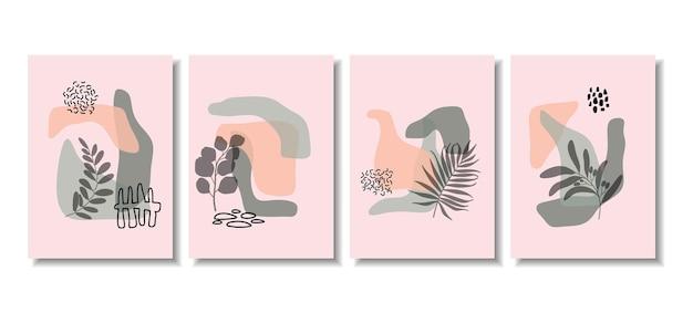 Fonds abstraits avec des formes minimales et des feuilles d'art en ligne.