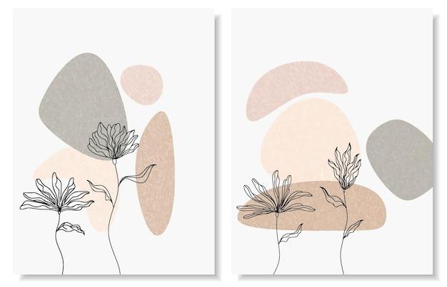 Fonds abstraits avec des formes minimales et des fleurs et des feuilles d'art en ligne.