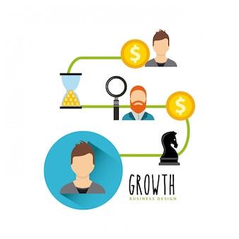 Fonds de croissance des entreprises des icônes plats