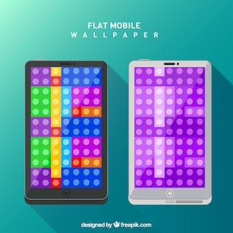 Fonds d'écran de pièces dans un design plat pour mobile
