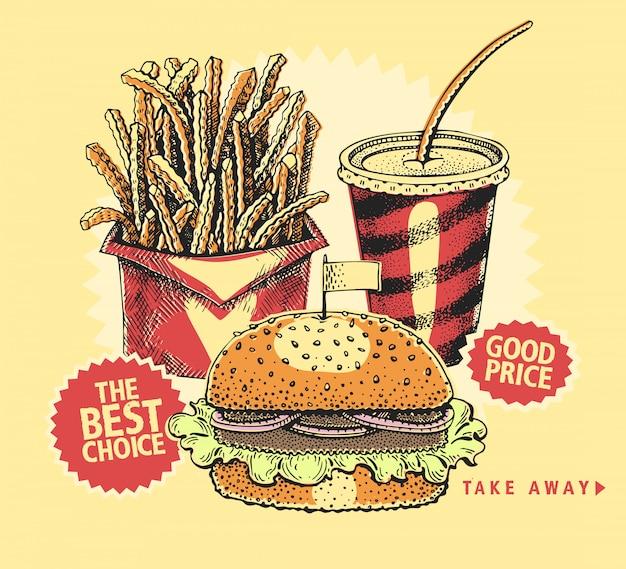 Fonds avec un hamburger, des frites et du cola