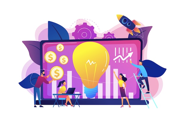 Fonds d'investissement finançant une petite entreprise à fort potentiel de croissance. capital-risque, investissement en capital-risque, financement en capital-risque, concept de business angels. illustration isolée violette vibrante lumineuse
