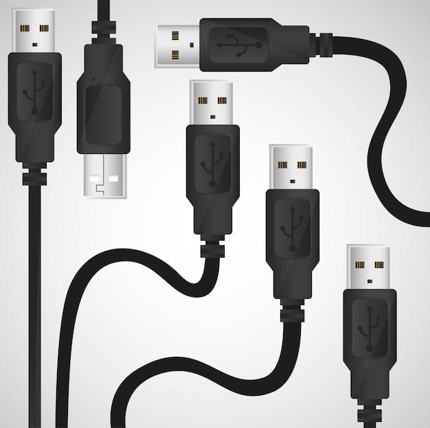 Fonds modèle de câble usb sur gris