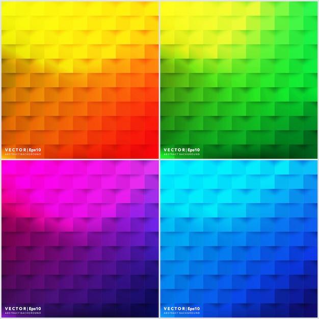 Fonds résumé ensemble de 4. milieux géométriques colorés.