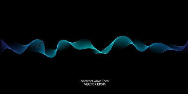 Fonds de technologie abstraite par les lignes de vague qui coule des couleurs bleues vertes isolés sur fond noir