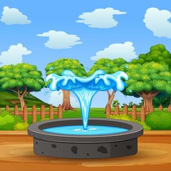 Fontaine au milieu d'un paysage naturel