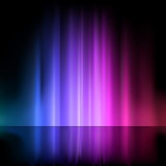 Fontaine d'eau illuminée dans des tons violets et bleus