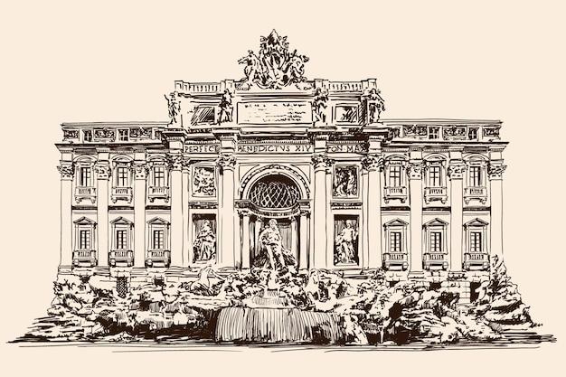 La fontaine de trevi à rome et le bâtiment adjacent avec colonnes et sculptures. croquis rapide.