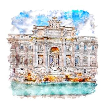 Fontana di trevi roma aquarelle croquis illustration dessinée à la main