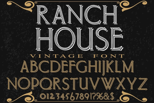 Fonte fait à la main typographie fonte design ranch house