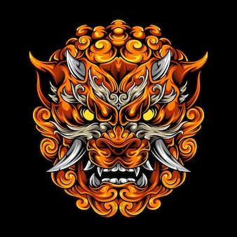 Foo dog head illustration premium mythologie art vectoriel