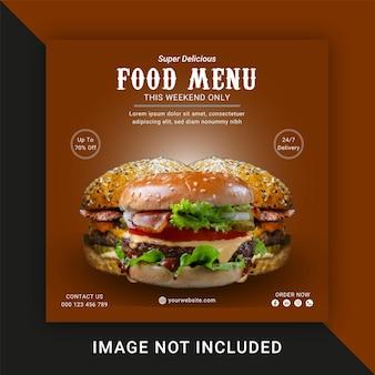 Food menu médias sociaux et modèle de publication instagram