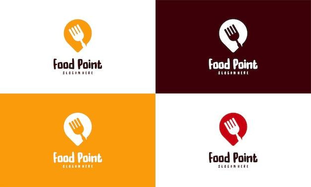 Food point logo conçoit le vecteur de concept, le logo de restaurant conçoit l'illustration du modèle