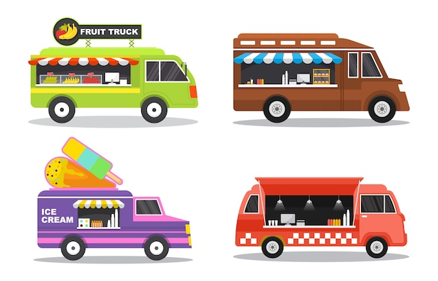 Food truck van voiture véhicule transport street shop set