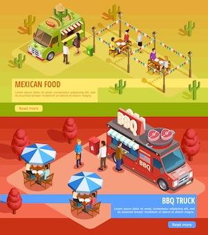 Food trucks 2 bannières isométriques horizontales