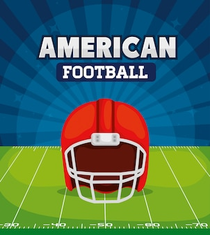 Football américain, à, casque, dans, champ, illustration