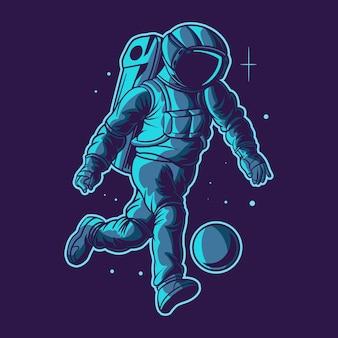 Football d'astronaute sur l'espace avec un ballon