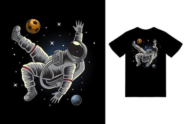 Football astronaute sur l'illustration de l'espace avec vecteur premium de conception de tshirt