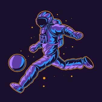 Le football des astronautes frappe un ballon dans l'espace