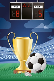 Football ballon de sport football avec sifflet d'arbitre et coupe du trophée