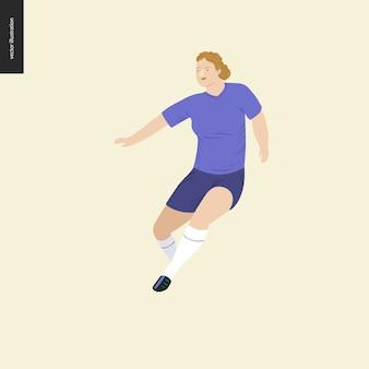 Football européen, joueur de football - illustration vectorielle plane d'une jeune femme en cours d'exécution portant l'équipement de joueur de football européen