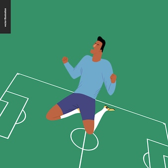 Football européen, joueur de football remportant une victoire - un jeune homme portant l'équipement de football européen