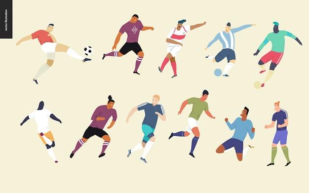 Football européen, set de joueurs de football
